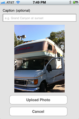 Camp Finder App - Upload a Photo view