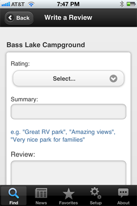 Camp Finder App - Write a review view