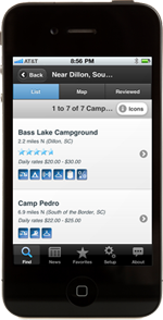 Camp Finder app displayed on an iPhone