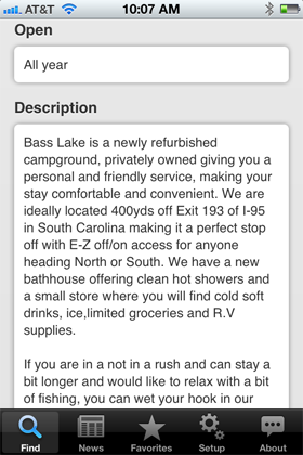 Camp Finder App - Bass Lake Campground description