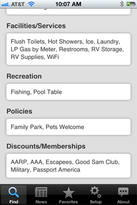 Camp Finder App - Bass Lake Campground amenities and discounts