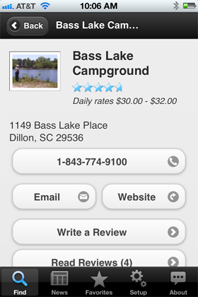Camp Finder App - Bass Lake Campground details