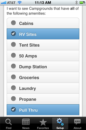 Camp Finder App - Setup options - Amenities