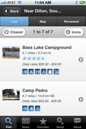 Camp Finder App - Campground list view search results with amenities, rates and ratings