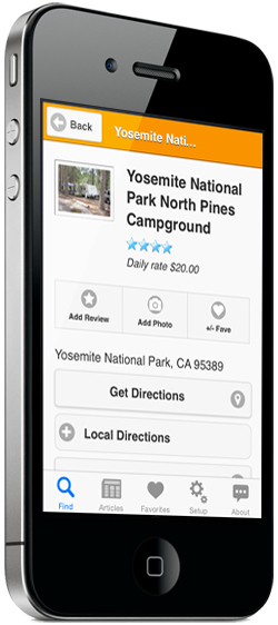 iPhone showing camground search results on Camp Finder app