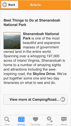 Camp Finder App - Article on Best Things to Do at Shenandoah National Park