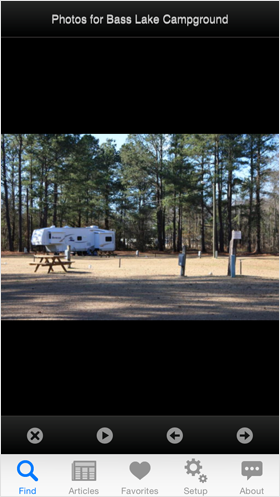 Camp Finder App - Camp Site at Bass Lake Campground