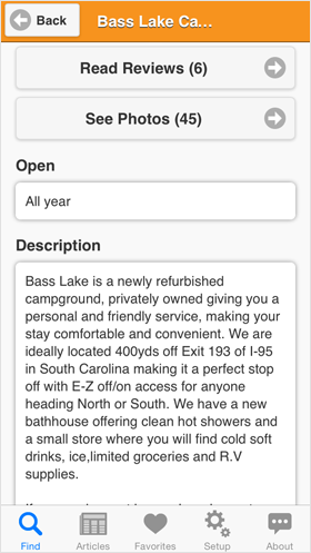 Camp Finder App - Showing Read Reviews See Photos buttons and Open times and Description for Bass Lake Campground