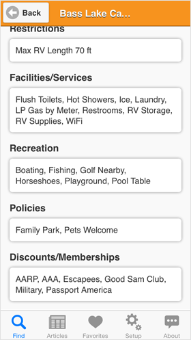 Camp Finder App - Bass Lake Campground recreation, policies and discounts