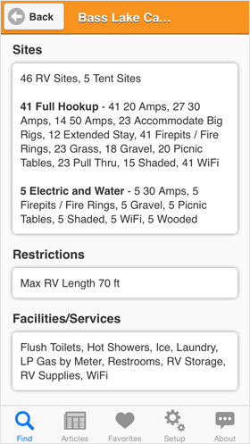 Camp Finder App - Bass Lake Campground site details