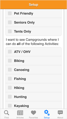 Camp Finder App - Setup options - Activities