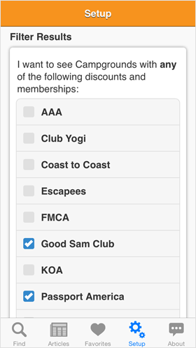 Camp Finder App - Setup options - Discount Clubs