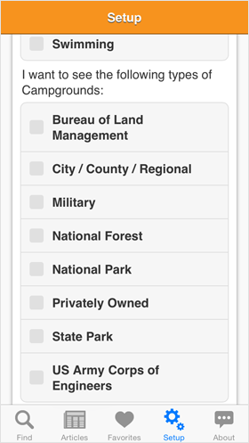 Camp Finder App - Setup options - Park Types