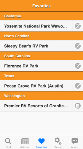 Camp Finder App - List of favorite Campgrounds, RV Parks and RV Resorts