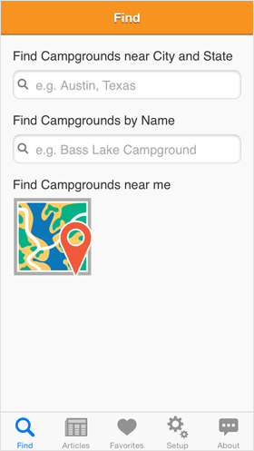 Camp Finder App - Campground search