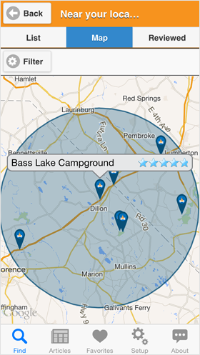Camp Finder App - Campground map search results