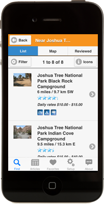 Camp Finder on iPhone App