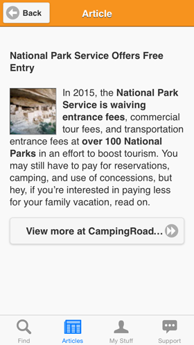 Camp Finder App - Article on National Park Service Offers Free Entry