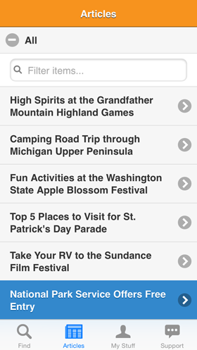 Camp Finder App - Articles view showing a list of camping and RV articles