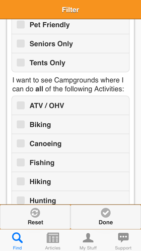 Camp Finder App - Filter view - Activities