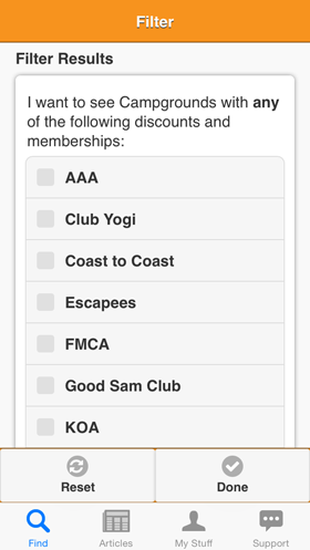 Camp Finder App - Filter view - Discount Clubs