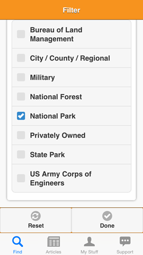 Camp Finder App - Filter view - More Park Types