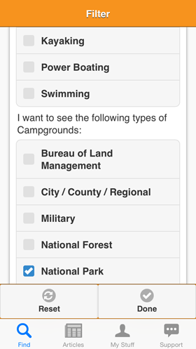 Camp Finder App - Filter view - Park Types