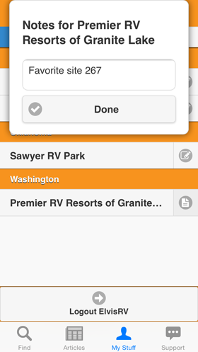 Camp Finder App - Personal notes on Favorite Campground