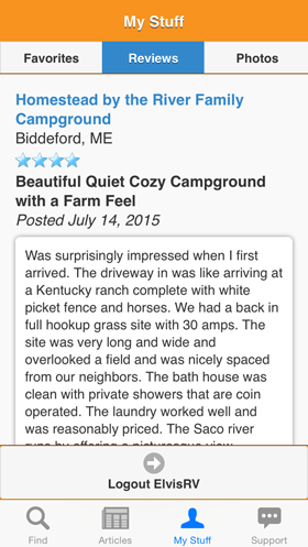 Camp Finder App - Personal reviews on campgrounds, RV parks and RV resorts