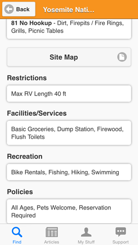 Camp Finder App - Yosemite National Park North Pines Campground site details,