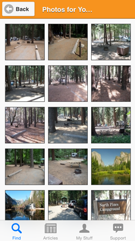 Camp Finder App - Yosemite National Park North Pines Campground Photo Gallery