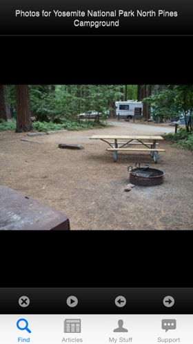 Camp Finder App - Photo of a campsite at Yosemite National Park North Pines Campground