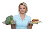 Pictures of a woman holding a plate of broccoli and a hamburger