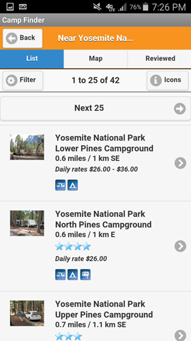 Camp Finder Android App - Campground list view search results with amenities, rates and ratings
