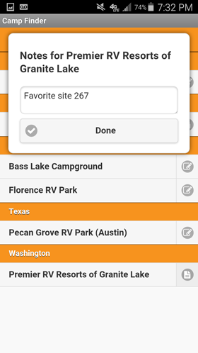 Camp Finder Android App - Personal notes on Favorite Campground
