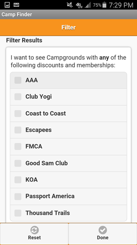 Camp Finder Android App - Filter Discount Clubs