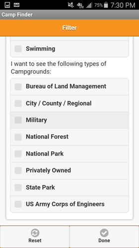 Camp Finder Android App - Filter by Park Type