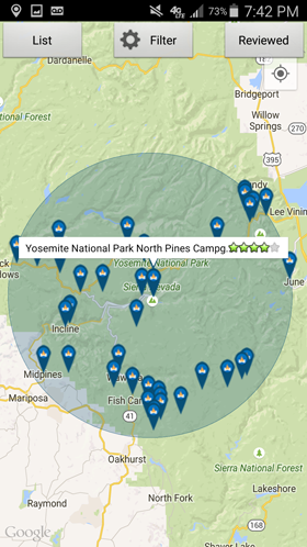 Camp Finder Android App - Campground map search results