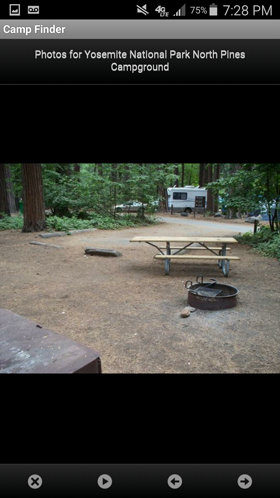 Camp Finder Android App - Camp Site at Yosemite National Park North Pines Campground