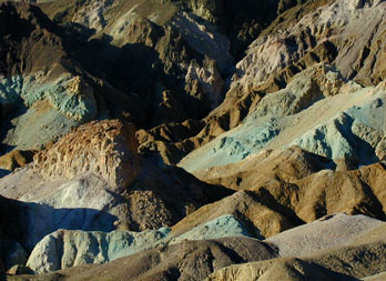 Multi-colored volcanic and sedimentary hills seen from Artist's Drive, Death Valley National Park