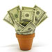 Flower pot containing US dollars