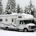 RV Class C Motorhome covered in snow