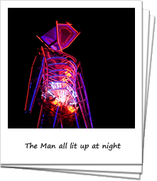 The Man silhouetted against the night sky