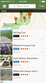 AllTrails app showing hiking trails in Shenandoah National Park