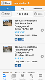 Camp Finder App showing a list of Joshua Tree National Park campgrounds with pictures and review ratings