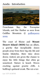 Kindle app showing book on Acadia National Park