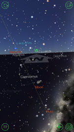 Star Walk app showing the Moon, Pluto and other objects in the night sky