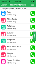 iExit App showing a list of nearby restaurants