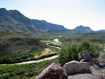 Scenic view of the Rio Grande river and Bofecillos Mountains from River Road at Big Bend Ranch State Park
